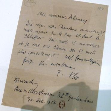 Un courrier de Klee à Delaunay, qui ne manque pas d'humour !