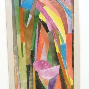 """Sur cette aquarelle """"Gothique joyeux (funny) ?""""(1915), on note uneanalogie avec le cubisme orphique de Delaunay."""