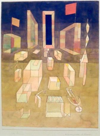 Non composé dans l'espace, 1929 (aquarelle, plume, craie et crayon sur papier sur carton)