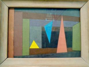 Triangles sur scène, 1933 (aquarelle et tempera sur carton apprêté)