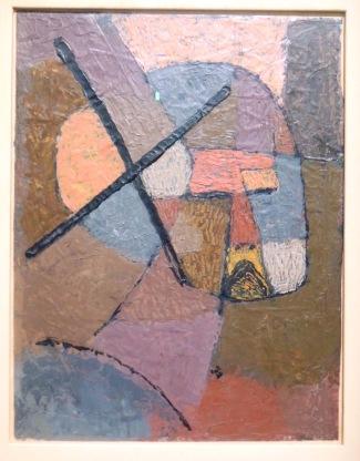 """Rayé de la liste, 1933 (huile sur carton). Ce tableau évoque avec force les attaques de la propagande nazie à son égard. Il est destitué de sa chaire de professeur à l'Académie de Düsseldorf, et une centaine de ses oeuvres seront ôtées des collections publiques, détruites ou vendues.LeBauhaus (qu'il avait fini par quitter deux ans plus tôt) a été dissolu par Göring en 1933, qualifié d'""""officine du bolchevisme culturel""""."""
