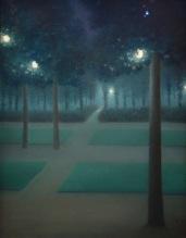 William Degouve de Nuncques, Nocturne au parc royal de Bruxelles (pastel), 1867