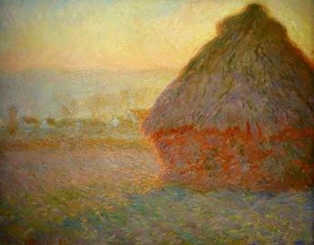Meules, effets de neige, soleil couchant. Claude Monet, 1891