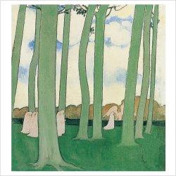 Paysage aux arbres vers, dit aussi La Procession sous les arbres, Maurice Denis, 1893