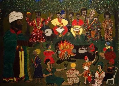 Nyabinghi Hour, Everald Brown, 1969 (huile sur bois)